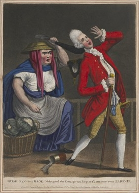 Carington Bowles, 'Irish Peg in a rage. Make good the damage you dog, or I'll cut away your parsnip' (1773) [Trustees of the British Museum]