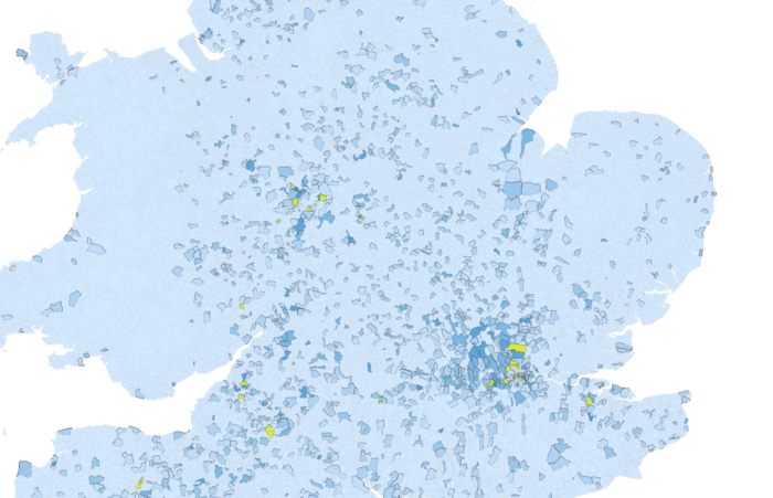 Vagrants expelled from Middlesex (1777-1786) by parish of origin, using the 'Vagrant Lives' dataset, with parishes sending more than 20 vagrants highlighted.